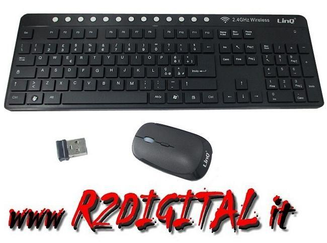 KIT TASTIERA MOUSE MK8008 WIRELESS 2.4GHz MULTIMEDIALE USB PC